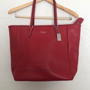 Coach Cherry Red Crossgrain Leather City Zip Tote